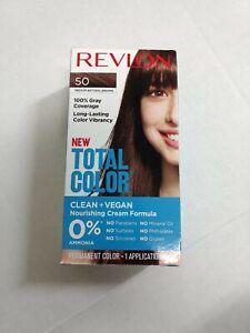 Revlon Total Color Hair Dye 50 Medium Brown 100% Gray Coverage Vegan