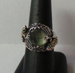 Designer Robert Manse Sterling Silver/18k Gold Prasiolite Frog Ring Sz 9 9.9g