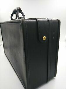 Vintage Hartmann Black Vinyl Travel Suitcase Luggage 1970's 21 x 7 x 13 in EUC