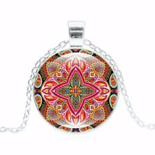 Necklace Mandala Glass Fractal Red Pendant Cabochon Chain Silver