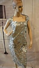 dfc016b4c7f2 Marina One Who Glitz Me Dress Silver Floral sequin Embroidered Sheath sz 12