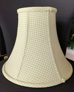 "Pottery Barn Kids Green White Gingham Fabric 12"" Bell Lamp Shade Bedroom Nursery"