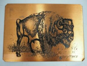 """Copper Plate Etched Print of Buffalo by Veryl Goodnight 7 1/2 x 5 1/2"""" VGUC"""