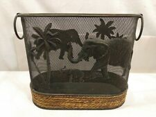 Vintage Wire mesh metal  Waste Basket Trash Can Elephant Palm Tree MT