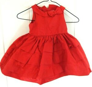 Janie and Jack Girls 3-6 Months Dress Red Tiered Sleeveless Holiday Formal EUC