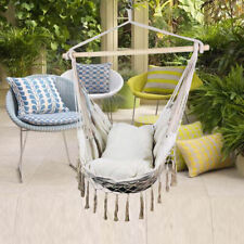 Hanging Rope Indoor/Outdoor Hammock Chair Swing Seats  with Cushion & Wooden Bar
