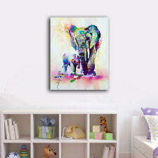 Watercolor Baby Mum Elephant Stretched Canvas Prints Framed Wall Art Home Decor