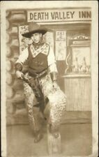 Studio Props Cowboy at Death Valley Inn Gun Holster Chaps c1910 RPPC AZO