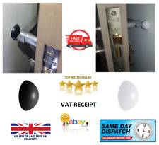 X4 DOOR STOP BUMPERS WHITE or BLACK Rubber Wall Mounted Guard Self Adhesive 32MM