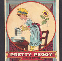 Antique Pretty Peggy Flour Sifter Victorian Trade Card Adams & Westlake Kitchen