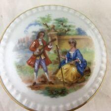 Vintage Limoges Trinket/Ring Porcelain Box Fragonard Victorian Romantic Scene