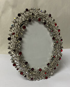 PAPYRUS Silver Metal Wreath Oval Frame Red Rhinestones & Pearls Pine Needles