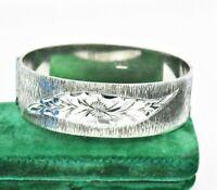 Vintage Sterling Silver wide Bracelet Hand Engraved Art Nouveau Art Deco #W252