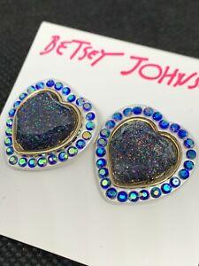"BETSEY JOHNSON ""Betseyvilla"" Blue Glitter Heart & Pave' Stone Stud Earrings NWT"