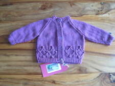 HAND KNITTED BEAUTIFUL BERRY SHADE CARDIGAN.  AGE 0-3m.