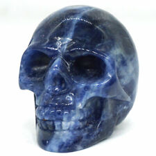 "Skull Figurine 2"" Natural Stone Blue Sodalite Carved Crystal Healing Statue 3074"