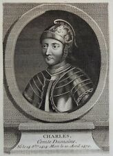Gravure Antique print Portrait CHARLES IV Comte Du Maine J. Robert R. Gaillard