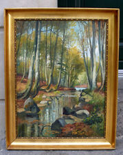 Salon oil. Danish landscape with forest stream. Signed. 1920s.