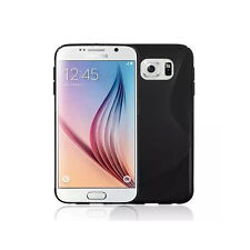 Premium Black Silicone Gel S-Line Wave Design Case Cover For Samsung S6