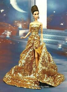Eaki Handmade Gold Sequin Evening Dress Outfit For Silkstone Fashion Royalty FR