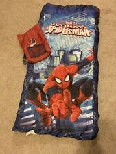 Childs Spiderman Sleeping Bag With Carry Backpack