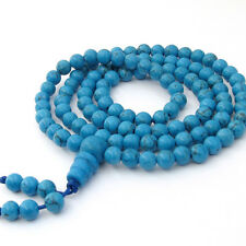 6mm Blue Howlite Turquoise Tibet Buddhist 108 Prayer Beads Mala Necklace