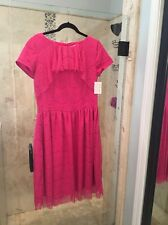 New NWT Women's Shabby Apple Dress 50's Vintage Style Lace Pink Anthropologie 12