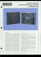 Rare Original Factory Altec 9842-8A/8D Monitor Speaker Dealer Sheet Page