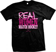 Real Women Watch Hockey Crossed Sticks Puck Goal Ice Rink Sports Mens T-shirt