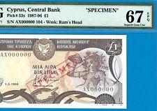 CYPRUS-SPECIMEN 1 POUND-1994-000000-P.53s **PMG 67 EPQ SUPERB GEM UNC**LOT 2**