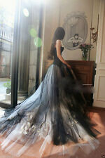 New Custom White and Black Flower Wedding dresses Bridal Gown A-line Size2-4-30+