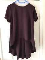 Topshop Purple / Burgundy Top Blouse Long Back Uk Size 10 VGC !