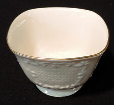 Lenox square Ivory Canterbury bowl embossed sides gold trim 3 in T, 4 1/4 in sq.