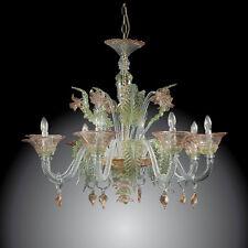 Lampadario in vetro di Murano Elegant 6 luci verde rosa oro