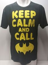 NEW KEEP CALM AND CALL BATMAN GRAPHIC T-SHIRT BLACK STONE WASHED TEE L