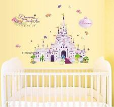 DISNEY PRINCESS CASTLE Wall Stickers Flowers Decor Decal Art Baby Girls Nursery
