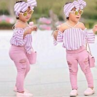 Children Kids Girls Off Shoulder Stripe Tops+Ripped Pants+Headbands Set Outfit