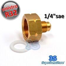 3S RIDUZIONE ADATTATORE SINISTRO per BOMBOLA R32 GAS REFRIGERANTE x MASCHIO 1/4