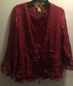 Notations 2 Pc Burgundy M Top Polyester Rayon Floral 3/4 Sleeve- Shell EUC 56070