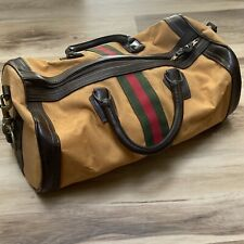 Vintage mid century Classic Camel Canvas Travel Duffle Weekender Carry All Bag