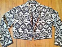 Flashback Black Cream White Aztec Southwestern Jacket Cropped Sz M