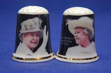 Queen Elizabeth II Diamant Jubiläum 1952-2012 Set mit 2 China Fingerhüte B / 21