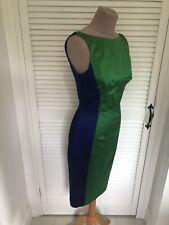 KAREN MILLEN RARE COLBALT BLUE & EMERALD GREEN SATIN STRETCH DRESS UK 8.