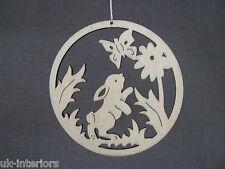 Rabbit British Woodland Animals Hanging Decoration 8 x 8cm Wood Bunny