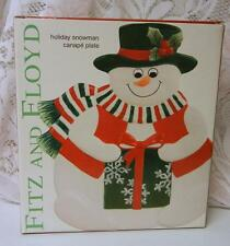 New In Box Reitred Fitz & Floyd Frosty Snowman Christmas Cookies Plate
