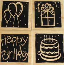 RUBBER STAMP SET OF 4 - CTMH S498 BIRTHDAY BLOCKS