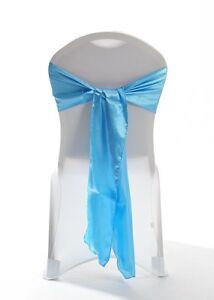 100 Tiffany Blue Satin Chair Cover Wedding sash UK