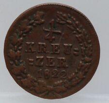 1822 Deutsches Reich Germany - 1/4  Kreuzer 1822 Nassau - scheide.m