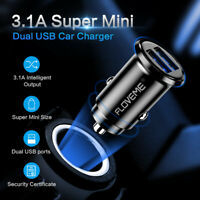 FLOVEME Mini USB Car Charger Adapter Dual USB Port Fast Charger for Smart Phone