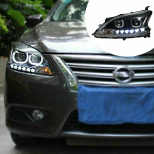 HID Headlights Assembly For Nissan Sentra 2013-2015  LED DRL yellow Turn Signal